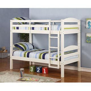 Kids Twin SOLID Wood Bunk Bed with White Finish, Durable, Beds can be