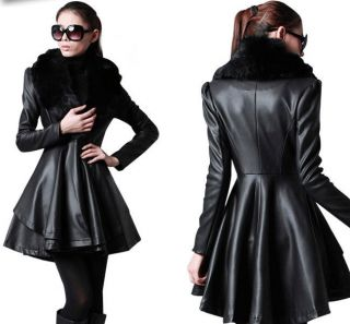 New Autumn Womens PU Leather Jacket Skirt coat Black Faux Fox Fur