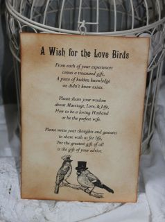 LOVE BIRDS Wedding ​Wish Poem Birdcage ​Vintage Style Unique T