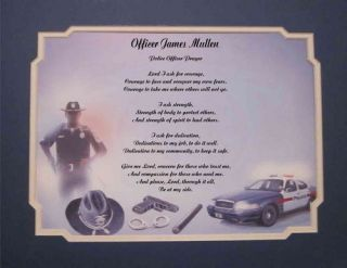 police officer personalized poem prayer  15 85