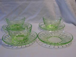 vintage GREEN depression Glass 3 TEA CUPS mugs & 4 SAUCERS plates