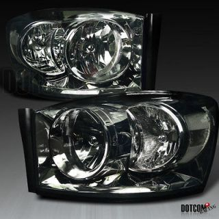 DODGE RAM SMOKE CRYSTAL HEADLIGHTS [W/O AMBER BAR] (Fits 2008 Dodge