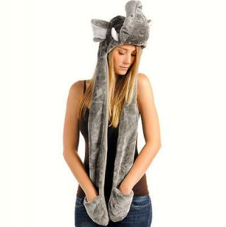 Fashion Plush Warm Faux Fur Animal Hoodie Beanie Hat With Long Pocket