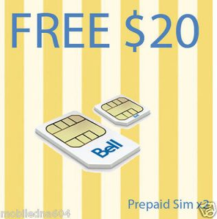 Prepaid Bell Mobility Micro Sim Card FREE $10 Start up ((10cents per