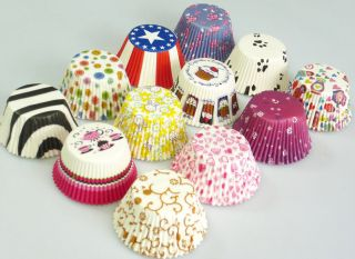 180 Assorted Patterned Cupcake Muffin Paper Cases Liners Baking Cake