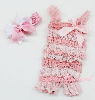 Newborn Baby Girls Light Pink White Lace Petti Rompers Straps Bow