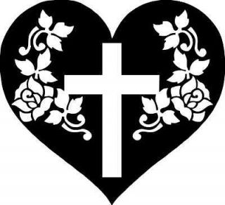Religious Decal Heart and Cross Sticker Religion For RV Laptop Car
