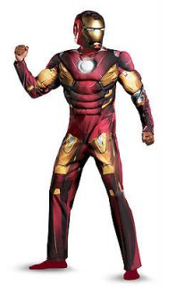 the avengers iron man adult muscle costume classic men xxl 50 52 mask