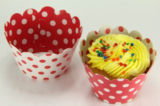 Cupcake Wrappers Wrap Liners, Minnie Mousse Red White Polka Dot