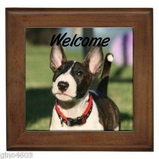 Welcome Front Door Framed Tile Sign Pit Bull Terrier Puppy Dog