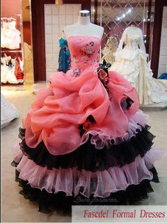 New Pink Color Accented Ball Gown Formal Prom Quinceanera Pageant