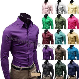 New Mens Luxury Stylish Casual Dress Slim Fit Shirts 17Colours 5 Size