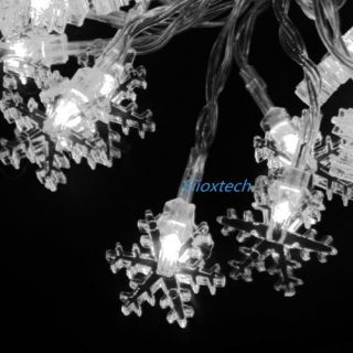 Warm White Battery Powered 40 Led Snowflakes String Light Christmas
