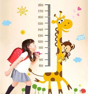 Giraffe Monkey Height Chart Wall Vinly Decal Decor Sticker Removable