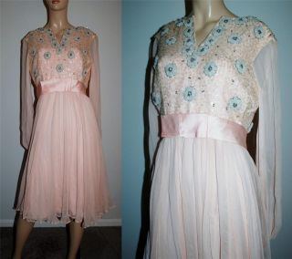 1960s Saks Fifth Ave Chiffon Rhinestone Beaded Satin Party Dinner