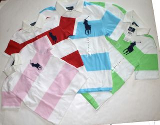NWT Ralph Lauren Boys Short Sleeved Striped Rugby Polo Shirt