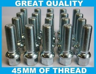 RADIUS 45MM LONG EXTENDED ALLOY WHEEL BOLTS FIT SKODA ROOMSTER YETI