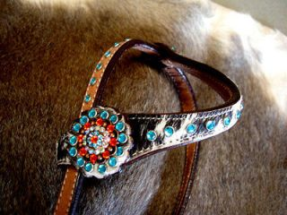 HORSE BRIDLE WESTERN LEATHER HEADSTALL ORANGE BARREL RACING HAIR ON