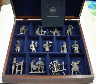 THE FRANKLIN MINT FINE PEWTER FIGURES THE PEOPLE OF COLONIAL AMERICA
