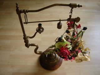 Rare & Unique Antique Brass Scale Candle Holder Plants Display