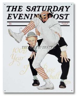 Nostalgic Tin Metal Sign   1939 Saturday Evening Post Baseball