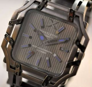 MENS XOSKELETON INTERCONTINENT​AL VOYAGER GUN METAL AUTOMATIC WATCH