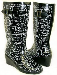 LOVE Medium Wedge Flat GALOSHES WELLIES RUBBER RAIN Boot Hunter BLACK