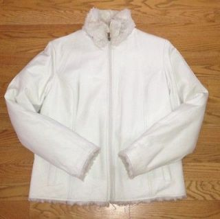 Wilsons Leather White Faux Fur Reversible Jacket Size M Womens Coat