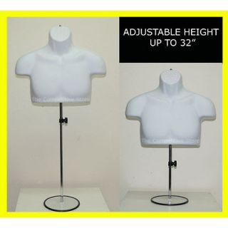 White Male Upper Torso Mannequin Form W/ Metal Base   Countertop