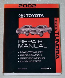 2002 TOYOTA TUNDRA TRUCK Factory Shop Service Repair Manual SR5