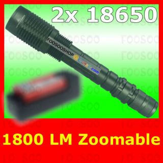 1800 LUMENS CREE XM L T6 LED ZOOMABLE FLASHLIGHT 2x 18650 TORCH LAMP w