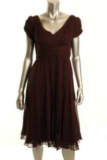New Brown Silk Chiffon Double V Neck A Line Cocktail Dress 12