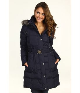 DKNY Faux Fur Trim Hood Quilted Coat    BOTH