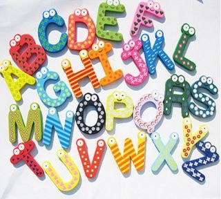 26 Alphabet A Z Letters Wood Fridge Magnets Baby Educational Toy Set A