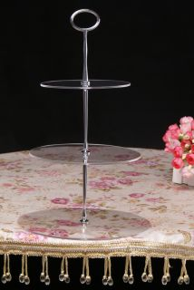 Tier Acrylic Cupcake Cake Stand Silver Oval Handle for Wedding Party