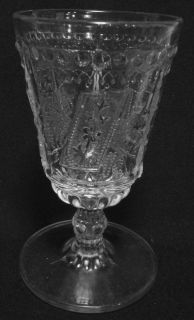 1881 EAPG Adams Co GOOD LUCK pattern glass PRAYER RUG knob stem GOBLET