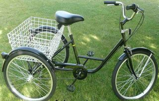Wheel Adult Tricycle 24 Trike 6 Speed Bike Black