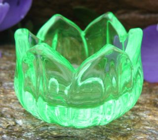 Greenish Yellow Vaseline Glass Lotus/Tulip Open Salt Dip, Cellar, Dish