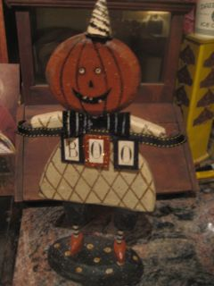 Primitive Pumpkin Man Wood and Metal Figure holding Boo Sign Cute FALL