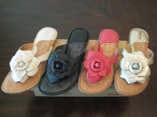 Born Akita Flower Leather Flip Flop Thong Sandals