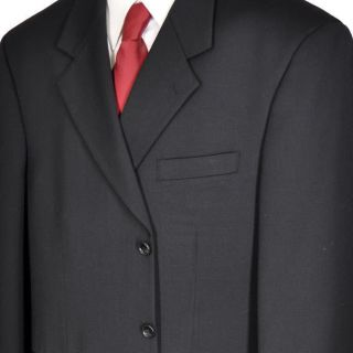 44R Albert Nipon Black Three Button Wool Suit