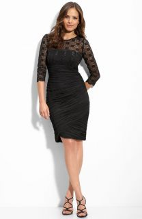 NWOT black Alex Evenings Sequined Lace Mesh Sheath Dress 14W