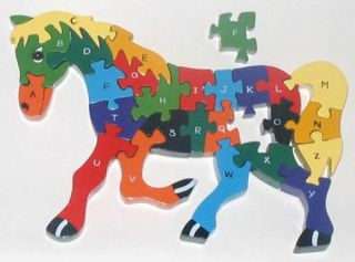 Horse Alphabet Wooden Jigsaw Puzzle Toy Montessori Toys