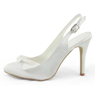 Fast SHIP Ladies White Satin Bow Dress Slingback Pointed Toe Pumps