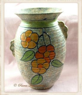 Art Deco Burleigh Ware Vase w Handles Flowers Charlotte Rhead Marked C