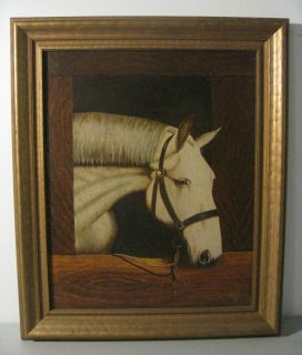 American White Horse Portrait Signed Oil Canvas Painting Folk Art