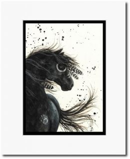 Mustang Native American Feathers Paint Black Horse Art Matted 5x7