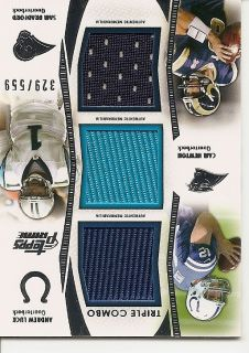 ANDREW LUCK CAM NEWTON BRADFORD 2012 TOPPS PRIME TRIPLE JERSEY RELIC
