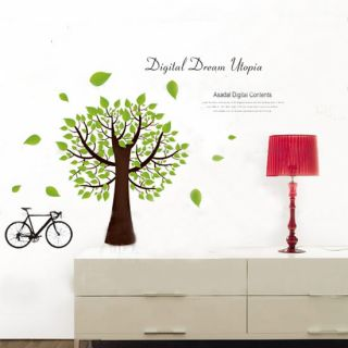 Green Tree Bike Motto DIY Removable Art Vinyl Wall Sticker Decor Mural