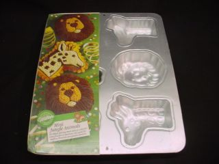 Wilton MINI JUNGLE ANIMAL cake pan GIRAFFE LION COOKIE CANDY 6 mold
